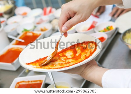 Step to making home made pizza by chef  - stock photo