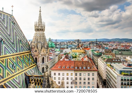 Stephansdom cathedral and aerial view over Vienna (Austria)