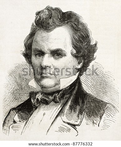 Stephen, Douglas old engraved portrait, Democratic Presidential candidate in 1861. Created by Bayard, published on L'Illustration, Journal Universel, Paris, 1860 - stock photo