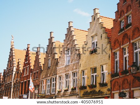 Stepped gable houses typically found in Bruges, Belgium - stock photo