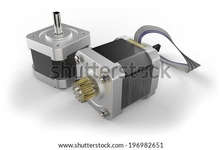 Stepper electric motor isolated on white - stock photo