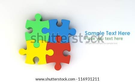 Stepping colorful jigsaw - stock photo