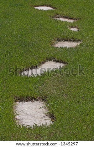 stepping stones in grass yard - stock photo
