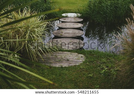 stepping stones over pond