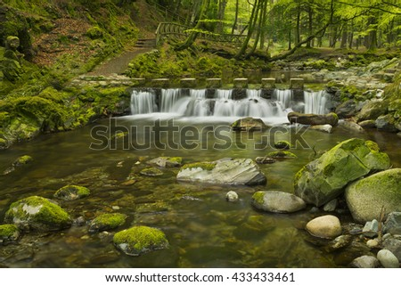 Stepping stones over the Shimna River in Tollymore Forest Park in Northern Ireland. - stock photo