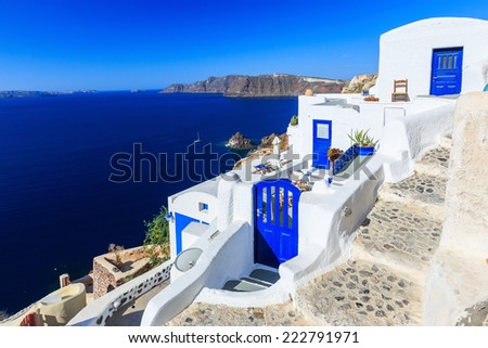 Steps and doors at the village of Oia in Santorini, Greece - stock photo