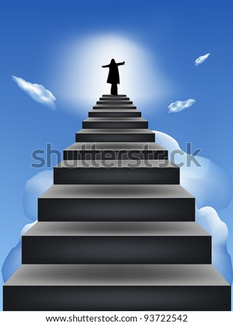 Steps leaders in the blue sky - stock photo
