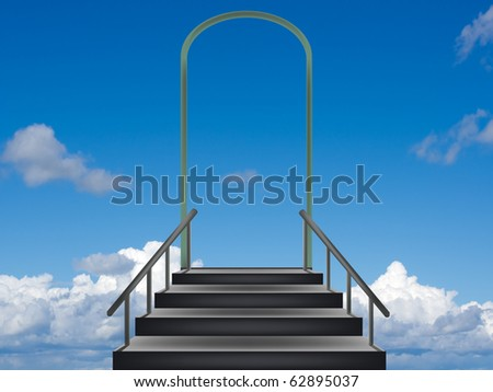 Steps leaders in the sky - stock photo