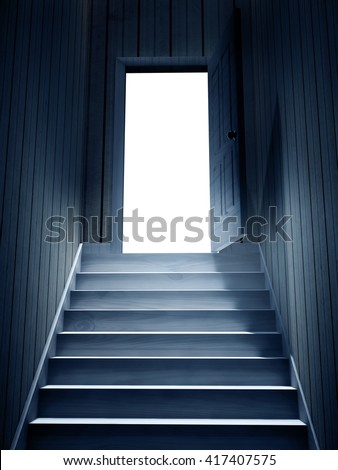 Steps leading from a dark basement to open the door. 3d render - stock photo