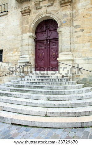 Steps leading to a church door; in vertical orientation