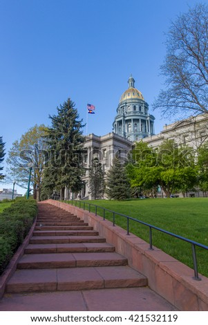 Steps Leading Up to the Colorado Capital with United States and  - stock photo