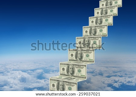 Steps of dollars against blue sky over clouds at high altitude - stock photo