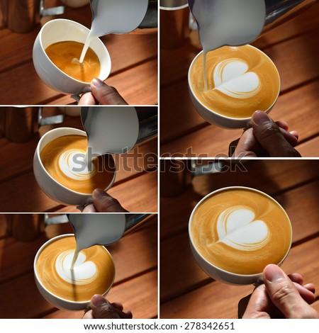 Steps of making cafe latte art, heart shape - stock photo