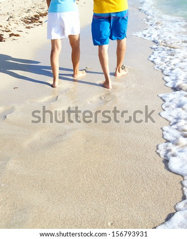 Steps on the beach. Tropical resort. - stock photo