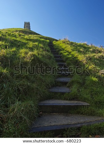 Steps to Glastonbury Tor located in Somerset England - stock photo