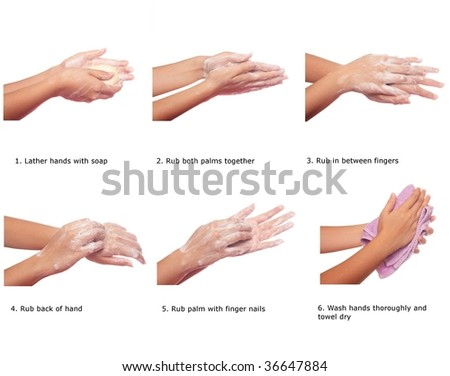 Steps to prevent spread of h1n1 by washing hands correctly - stock photo