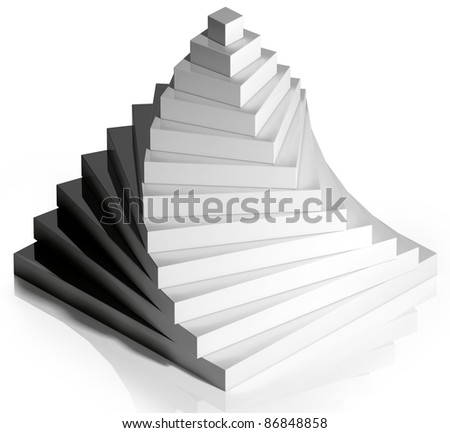 Steps up pyramid isolated on white background, on reflective surface, 3D. - stock photo