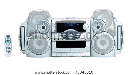 Stereo audio DVD and CD player for your home entertainment the image isolated on white - stock photo