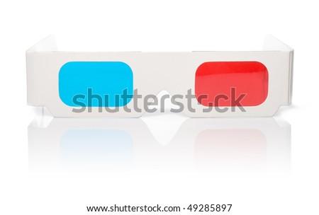 stereo glasses on white - stock photo