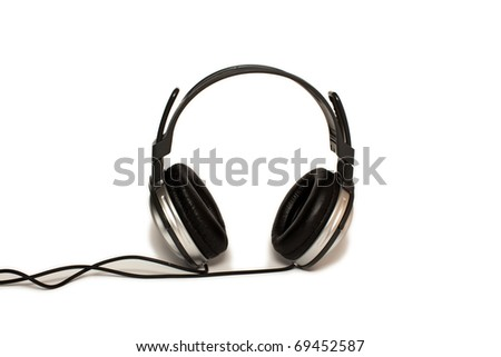 Stereo headphones on a white