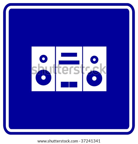 stereo music player sign - stock photo