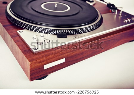 Stereo Turntable Vinyl Record Player Analog Retro Vintage Angle View - stock photo