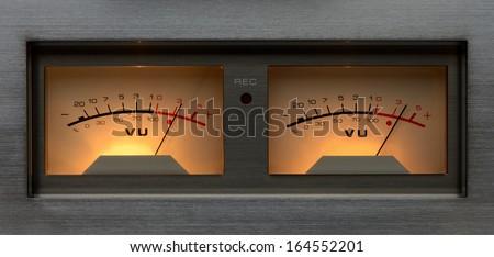 Stereo VU meter - stock photo