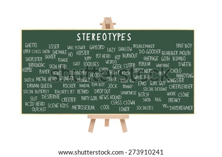 Stereotype Chalkboard on Easel (Nerd, Brainiac, Cutter, Metrosexual, Wall Flower, Geek, Pothead, Snob, Thug, Ghetto, Outcast, Acid Head, Social Deviant, Tranny, Artsy, Skater) isolated on white - stock photo