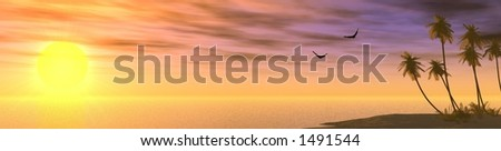 stereotypic sunset with palm-trees and seagulls - stock photo