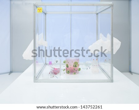 sterile chamber in lab with microorganism samples, experiment glassware with liquid substances, biological debris and a rack with test tubes - stock photo