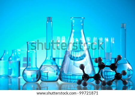Sterile conditions, Laboratory glass - stock photo