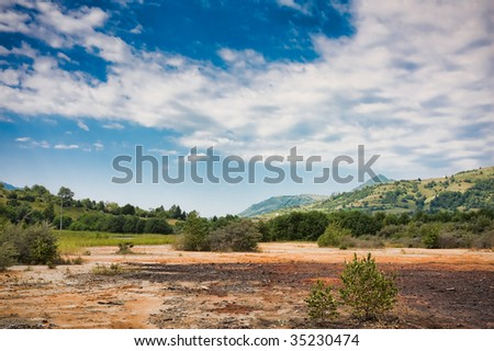 Sterile dump at Anies, Romania. - stock photo