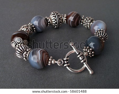 Sterling silver and agate bracelet - stock photo
