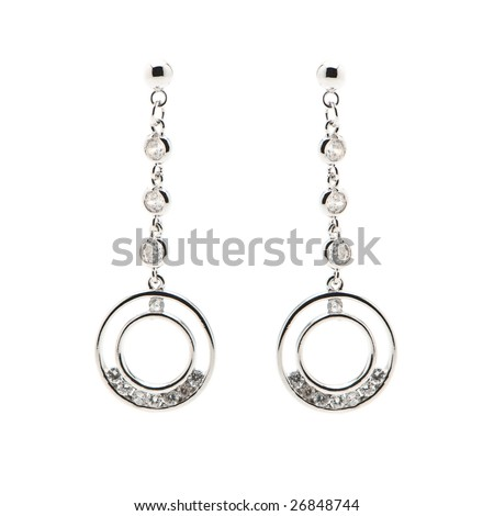 Sterling Silver Earrings - stock photo