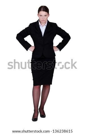 Stern businesswoman - stock photo