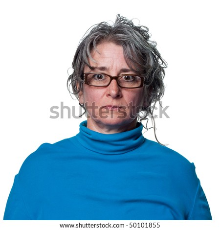Stern look from this middle aged woman - stock photo