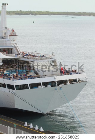 Stern of cruise liner and sea gulf - stock photo