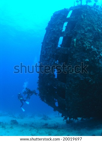 Stern of sunk wreck