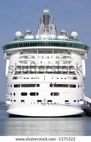 Stern view of Worlds biggest cruise ship Freedom Of The Seas in dock at Southampton UK - stock photo