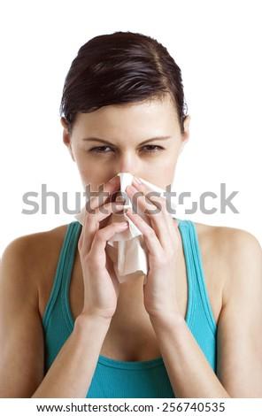Sternutative ill woman - stock photo
