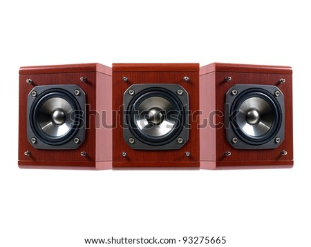 Stero speakers isolated against a solid background
