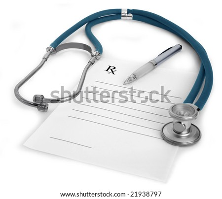 Stethoscope, a pen and a blank prescription pad on white background - stock photo