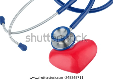 stethoscope and a heart symbol photo for cardiovascular risk and myocardial infarction - stock photo
