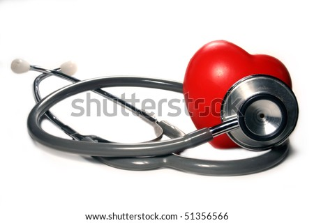 Stethoscope and a red heart on a white background.