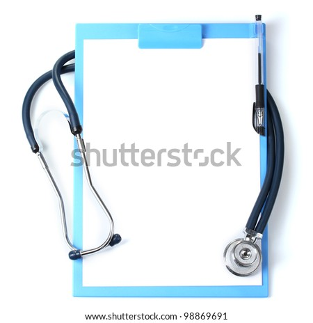stethoscope and blue clipboard isolated on white - stock photo