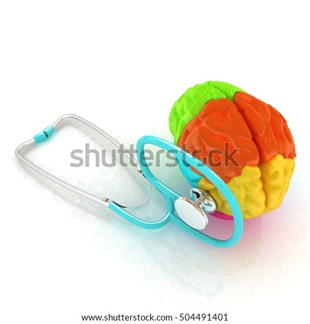 stethoscope and brain. 3d illustration