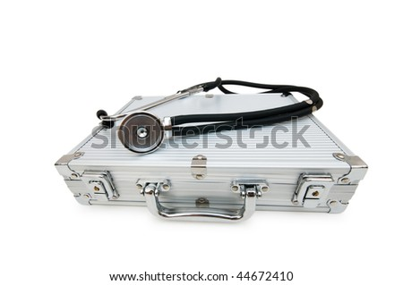 Stethoscope and case isolated on the white