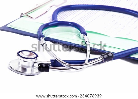 stethoscope and clipboard isolated on white background - stock photo