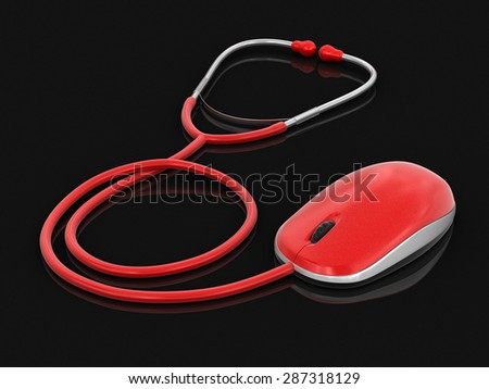 stethoscope and Computer Mouse (clipping path included) - stock photo