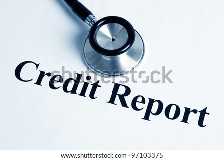 Stethoscope and Credit Report, concept of business - stock photo